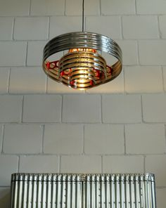 "corrugated metal pendant lamp, ""decopunk"" Made in Germany by aero-1946"
