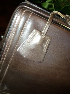 Key detail Stunning #50s #small #doctor #bag in brown #leather