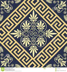 Vector Seamless Vintage Gold Greek Ornament (Meander) Stock Vector ...