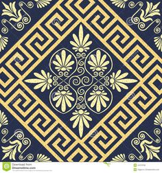 Vector Seamless Vintage Gold Greek Ornament (Meander) Stock Vector ...