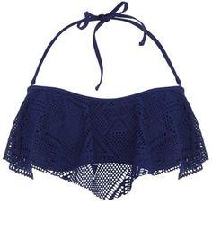 Navy Crochet Flounce Bikini Top