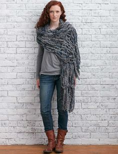 Bernat Arm Knit Fringed Wrap  | Yarnspirations #armknitting #knit