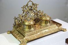 Antique Depose Brass Double Inkwell w/ Glass Insert, Letter & Pen Holder -France | eBay
