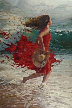 by Alexey Slusar [red dress] [breeze] [beach] Woman Painting, Figure Painting, Painting & Drawing, Art Watercolor, Beach Art, Portrait Art, Beautiful Paintings, Female Art, Creative Art