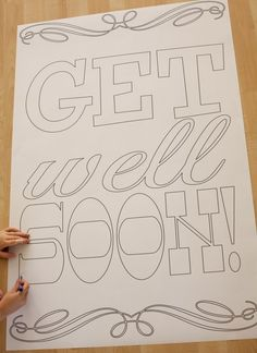 Free printable (and colorable!) giant get well soon card. Perfect craft and diy gift idea