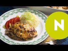Gombás-sajtos tepsis hús újhagymával | NOSALTY