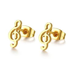 Tiamor stainless steel cute music stud earrings for women small ear Gold Color fashion luxury jewelry Earrings Ti831