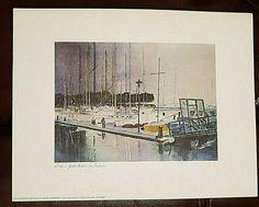 "FLOYD HILDEBRAND Print DAWN IN YACHT HARBOR IN SAN FRANCISCO 11.5 x 15"" Poster #ContemporaryArt Artwork Display, Francisco, San Francisco Artwork, Painting, San Francisco Art, Floyd, Artwork, Contemporary Art, Prints"