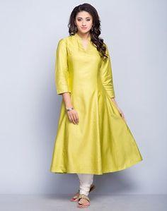Tussar Cotton FabricPlainZari Top StitchPanelledChinese Collar3Q SleevesDry Clean Only