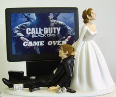 """""""This is SO us"""" wedding cake topper."""