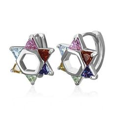 Bling Jewelry Stainless Steel CZ Multi Color Star of David Huggie Hoop Earrings