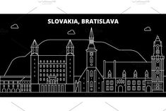 Slovakia flat icon, slovakian line banner Bratislava, Outline Designs, Skyline, Travel Illustration, Silhouette, Vintage Travel Posters, Banner Design, Skyscraper, String Art