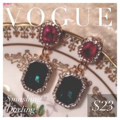"""HP   t+j Designs Jewel Tone Drop Earrings These sophisticated gemstone drop earrings with rhinestone trim add a touch of glam to any look!  - Gold plated - Nickel and lead free - Drop post earrings with glass crystals - 1.5"""" drop  These earrings normally retail for $32.  Photo Credit: t+j Designs T&J Designs Jewelry Earrings"""