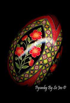 Made To Order Scarlet Posies Pysanka Batik Ukrainian Style Easter Egg Art EBSQ Plus