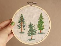 cross stitch hoop art fir-tree, pine forest