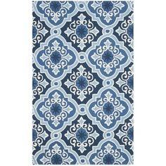 Safavieh Hand-Hooked Indoor/ Outdoor Four Seasons Navy/ Blue Rug (5' x 8')