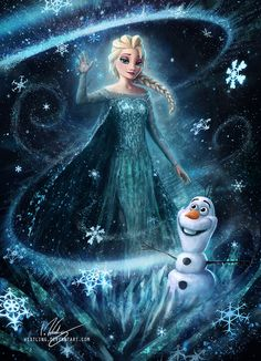 By Westling: Queen Elsa in all her Frozen Glory, shown here with snow-pal Olaf Images Disney, Art Disney, Disney Kunst, Disney Magic, Disney Movies, Frozen Art, Disney Frozen Elsa, Disney Princess, Frozen Painting