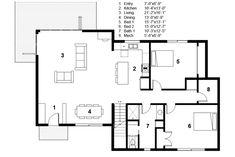 Modern Style House Plan - 3 Beds 2 Baths 2115 Sq/Ft Plan #497-31 Floor Plan - Main Floor Plan - Houseplans.com
