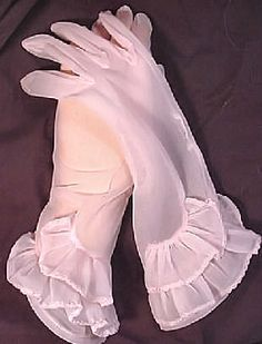 Beautiful sheer nylon pale pink glove