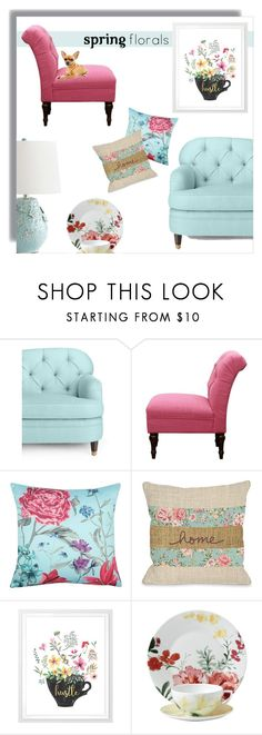 """""""Spring Floral Home"""" by mk-style ❤ liked on Polyvore featuring interior, interiors, interior design, home, home decor, interior decorating, Kate Spade, Threshold, M&Co and One Bella Casa"""