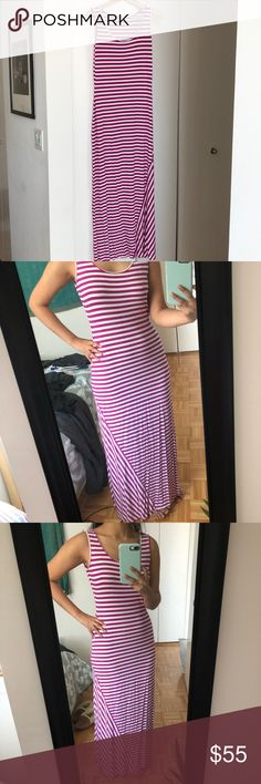 Magenta striped maxi dress Curve-hugging magenta and white striped sleeveless maxi dress! Perfect for a beach day or summer dinner date and can be dressed up with heels or down with sandals. Barely worn! I'm 5'6' and it hits my ankles. Calvin Klein Dresses Maxi