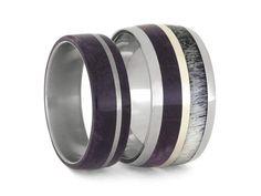 Purple Box Elder Wood Wedding Band Set, Women's Wood Ring With Men's Deer Antler Wedding Band, Titanium Rings With Natural Materials