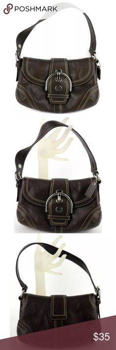 "Coach Soho Small Hobo Leather 10316 Shoulder Bag Coach Soho Small Hobo Leather 10316 Shoulder Bag. Color: Dark Brown Measures approx.  7""h x 9.5""w x 2.5""deep / 8"" Strap Drop  Condition: Super nice shape, pre-owned   ALL ITEMS COME FROM A SMOKE-FREE HOME Coach Bags Shoulder Bags"