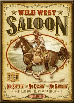Flash back to the days of the Wild West with this tin sign. The large 12 x 16.75 signfeature original full-color artwork and sayings printed that look to be taken from an old saloon. There is a hole