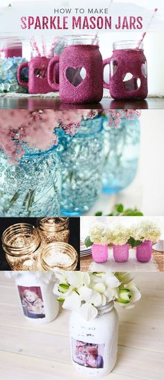 Add sparkle and glitter to mason jars with creative DIY home decor and crafting ideas.