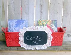 Rustic Christmas Card Holder / by CarolesWeddingWhimsy on Etsy, This Rustic Christmas Card Holder, Personalize Holiday Card Holder has a Chalkboard Christma Decor that can be personalized.  You can find it here https://www.etsy.com/listing/162010823/rustic-christmas-card-holder