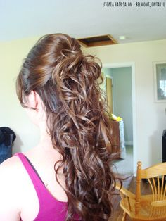 curled with half up, long hair updo - utopia hair salon/belmont ontario https://www.facebook.com/pages/Hair-by-Annie-Braun-Utopia/116968085010811?hc_location=stream