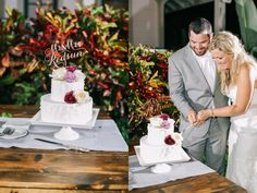 Two tier cake. LVL Weddings & Events/Photography: Brandon Kidd Photography/Venue: Olowalu Plantation House/Floral: Wild Heart Floral Design/Catering: Cafe O'Lei/Bartender: Garnish Cocktails/Beauty: 10.11 Makeup/Rentals: Pacific Isle Rentals, Winters Events, Set, and Signature Maui/Stationary: Miss B Calligraphy/Entertainment: Kevin Miso/Cinematography: Sunlit Films/Cake: Maui Sweet Cakes/Transportation: Hawaii Executive Transportation/Accomodations & Rehearsal Dinner: Westin Maui Resort…