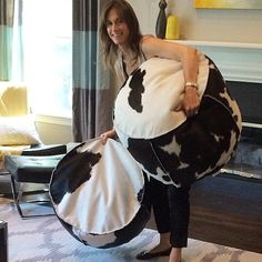 """Photo shoot set up yesterday, love these super fun """"moo"""" poufs for client's family www.laramichelle.com"""