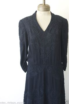 1930s Heavy Embroidered Wool Crepe Dropwaist Dress EISENBERG & SONS