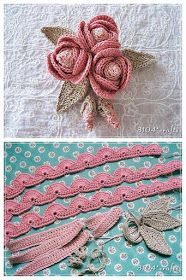 lo spazio di lilla: Bouquet di roselline con boccioli all'uncinetto, con sch… the space of lilac: Bouquet of little roses with buds, with pattern / Crochet rosettes, free charts Irish Crochet Patterns, Crochet Motifs, Freeform Crochet, Crochet Designs, Crochet Doilies, Crochet Flowers, Knitting Patterns, Knitting Charts, Diy Flowers