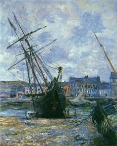 """Claude Monet, """"Boats Lying at Low Tide,""""  1881."""