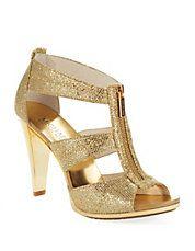 @Michael Kors  Berkley T-Strap Heels #glitter #heels #NewYears #gold