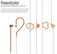 ねじって自由な形に可変できるイヤフォン「freestyler」