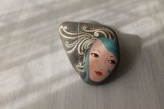 Items similar to Painted stone Marie Antoinette, painting on stone. Beach pebbles art on Etsy Pebble Painting, Pebble Art, Stone Painting, Painting & Drawing, Rock Painting Designs, Paint Designs, Drawing Rocks, Rock And Pebbles, Cute Paintings