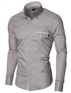 MODERNO Mens Slim Fit Casual Button-Down Shirt (MOD1413LS) Gray. FREE worldwide shipping! 30 days return policy