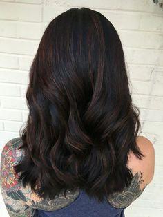 ✨ s u b t l e ✨ black balayage Hair Color For Black Hair, Cool Hair Color, Brown Hair Colors, Dark Hair, Brown Hair Balayage, Hair Highlights, Black Balayage, Bayalage, Color Highlights