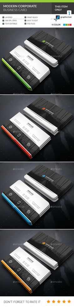 Modern Corporate Business Card — Photoshop PSD #light #brand • Available here → https://graphicriver.net/item/modern-corporate-business-card-/16597907?ref=pxcr