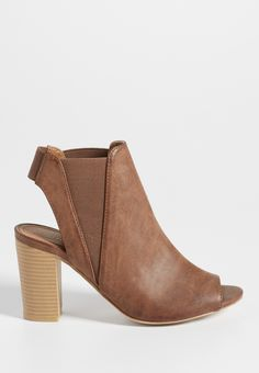 Janise peep toe bootie with gore in brown (original price, $44.00) available at #Maurices