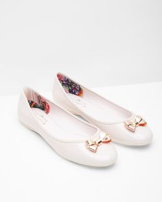 Bow detail ballerina pumps - Baby Pink | Footwear | Ted Baker UK