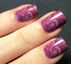 Nail Art - Purple Swirl Stamping - Color Club Uptown Girl with China Glaze Don't Make Me Wine and plate DRK-B.
