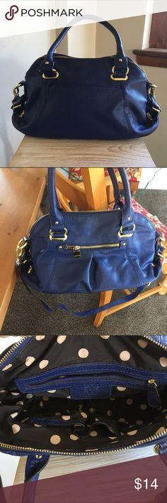 Anne Klein blue satchel pocketbook Anne Klein blue satchel bag excellent condition measures 16 x 8 x 6. Has shoulder strap Anne Klein Bags Satchels