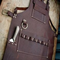 Leather Apron with knife sheath pocket and towel ring
