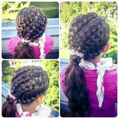 Lace dutch braids into a side ponytail