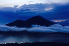 Mt Butar, Bali 3000m at sunrise looking at Mt Agung