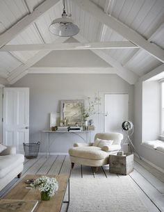 love this seaside coastal vintage loft living room with whitewashed floorbards, vaulted white ceiling and soft grey walls We love seaside interiors Source by. The post We love seaside interiors appeared first on Mack Makeovers. Coastal Bedrooms, Coastal Living Rooms, Living Room Decor, Living Area, Grey Walls Living Room, Small Living, Cosy Cottage Living Room, Seaside Bedroom, Scandi Living Room